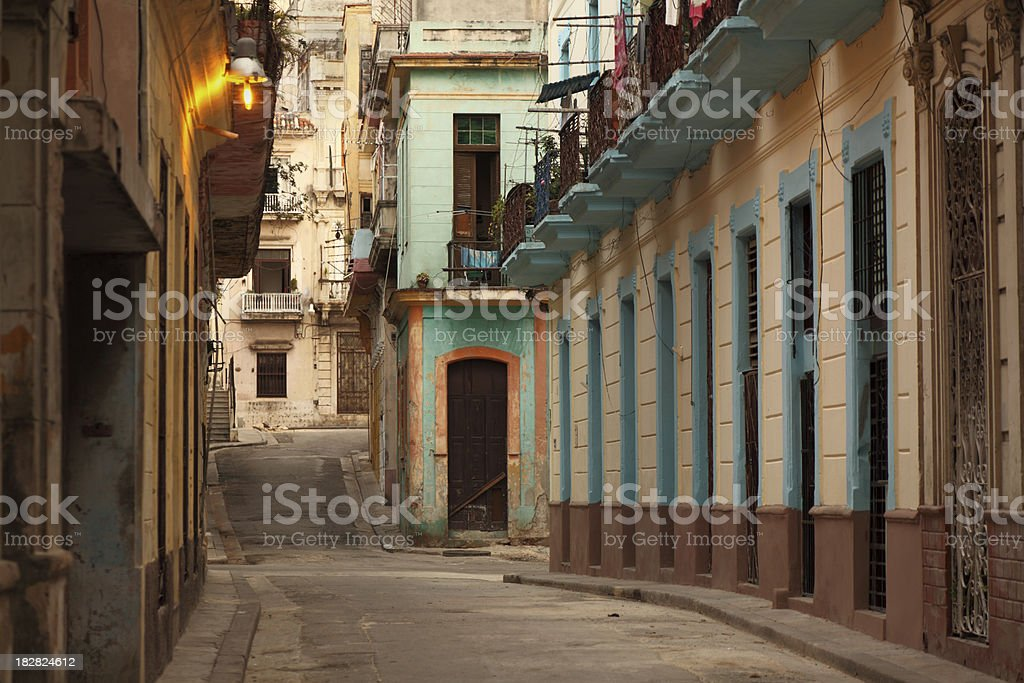 first sunlight in a Havana Cuba street royalty-free stock photo