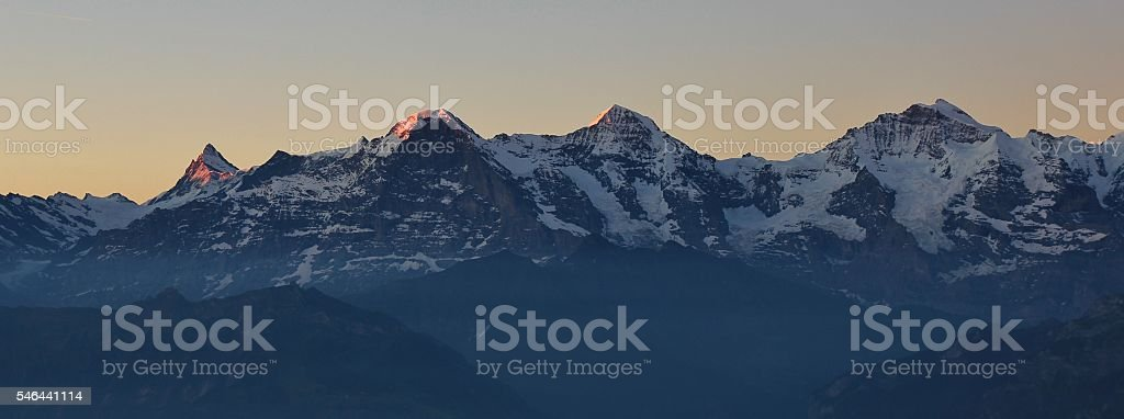 First sunlight on Mt Eiger Monch and Jungfrau stock photo