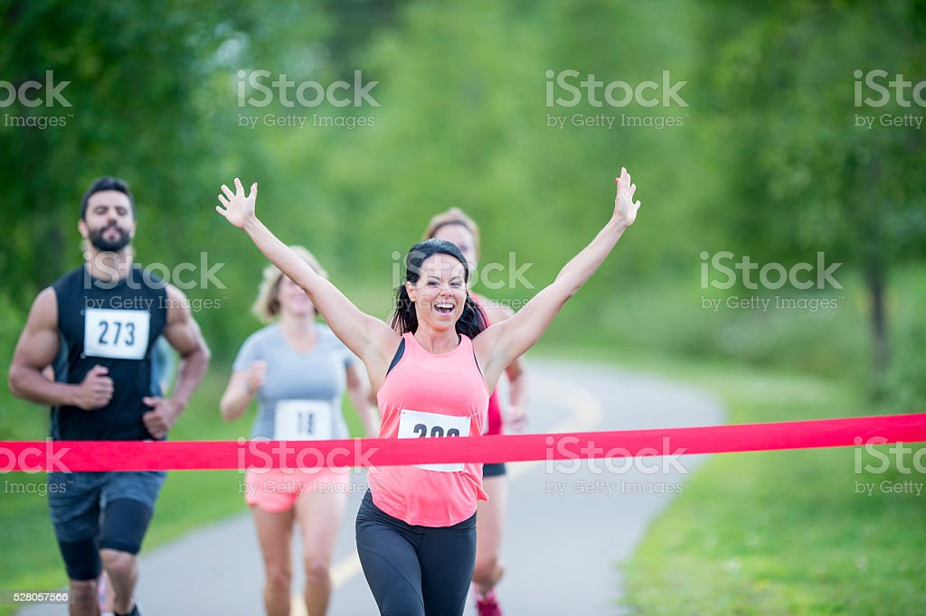 First to Cross the Finish Line stock photo