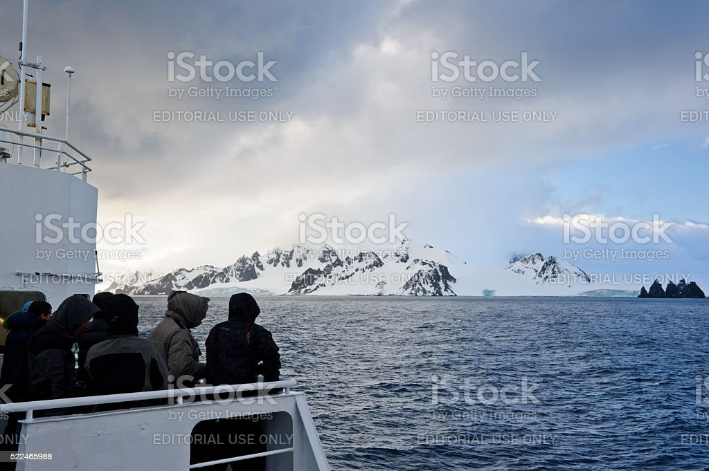 First view of Antarctica stock photo