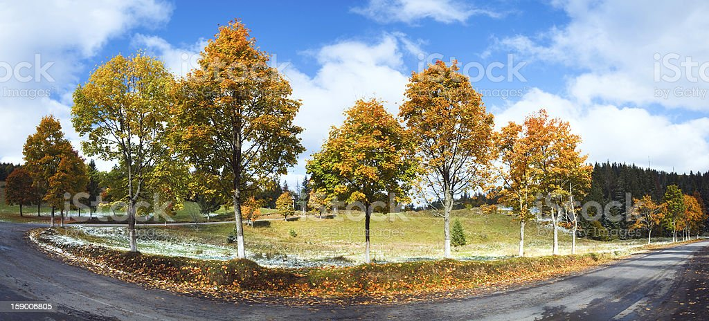 First winter snow and autumn colorful trees near mountain road royalty-free stock photo