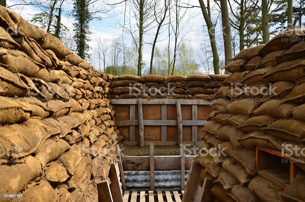 First World War British Trench, Flanders stock photo