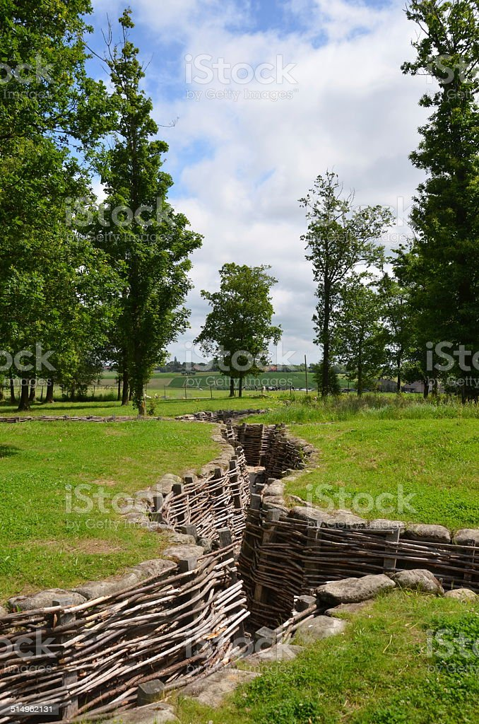 First World War German Trench, Flanders stock photo