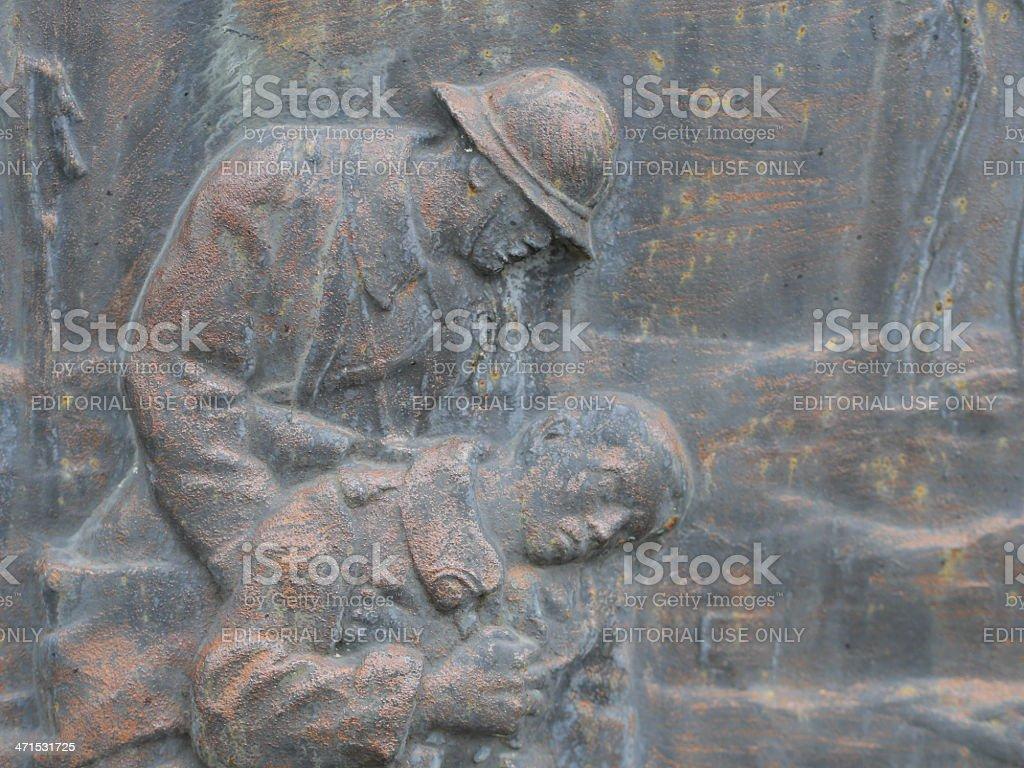 First World War memorial : bas-relief stock photo
