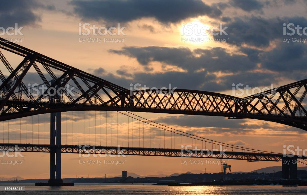 Firth of Forth Bridges at Dusk stock photo