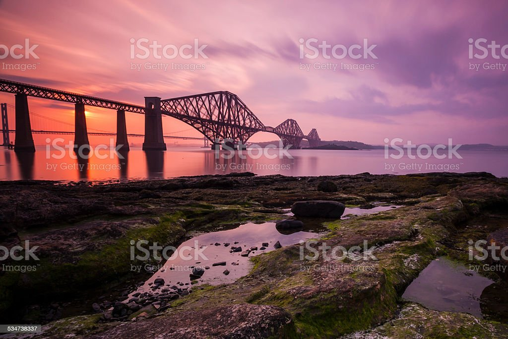 Firth of Forth Rail Bridge at sunset stock photo
