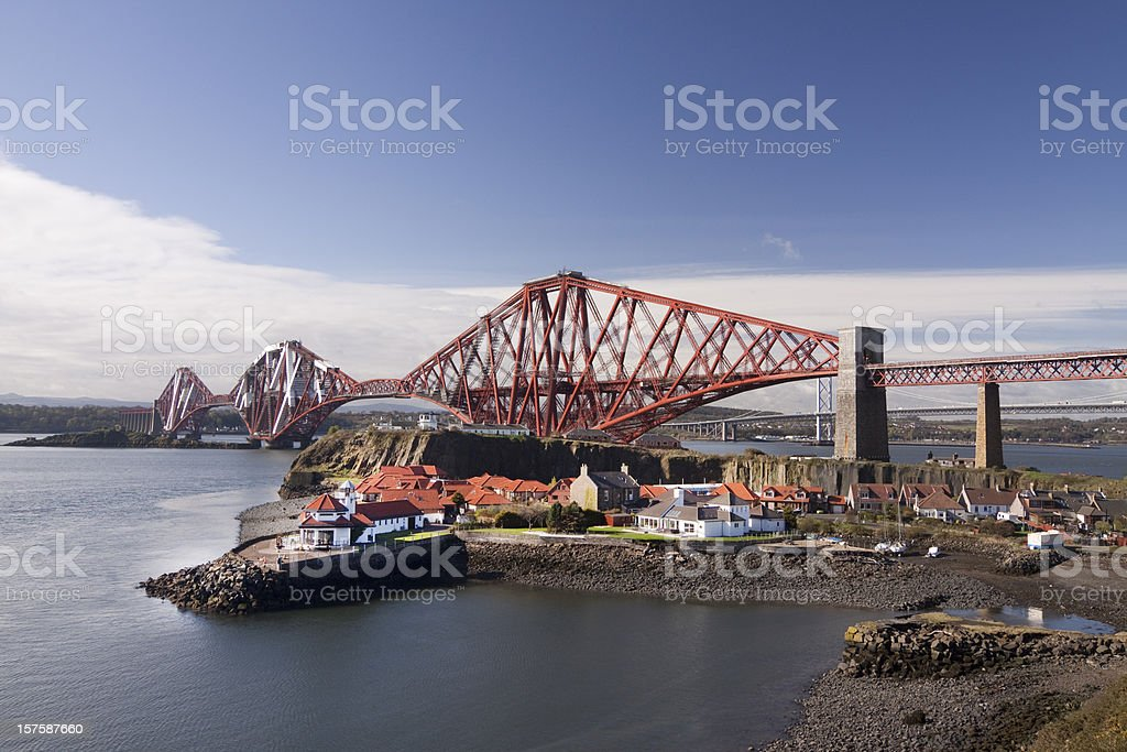 Firth of Forth Rail Bridge in Edinburgh Scotland royalty-free stock photo