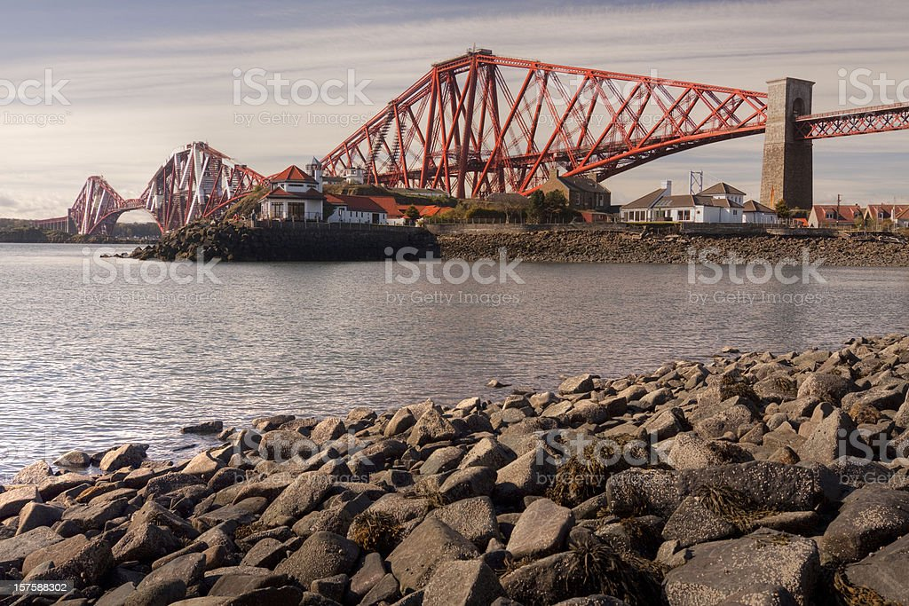 Firth of Forth Rail Bridge in Edinburgh Scotland stock photo