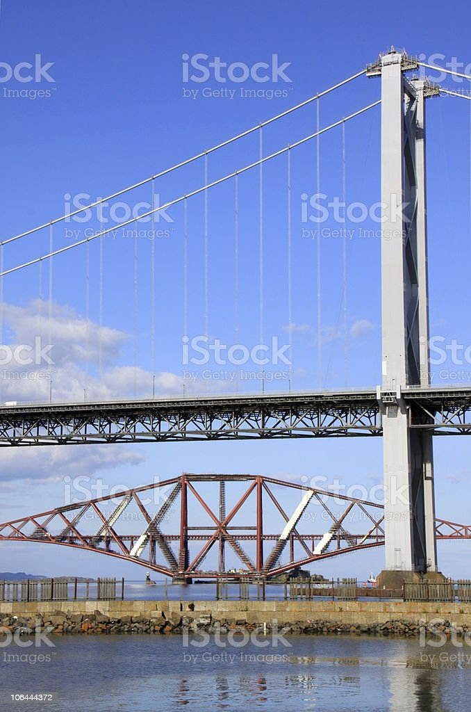Firth of Forth road and rail bridges in Scotland royalty-free stock photo