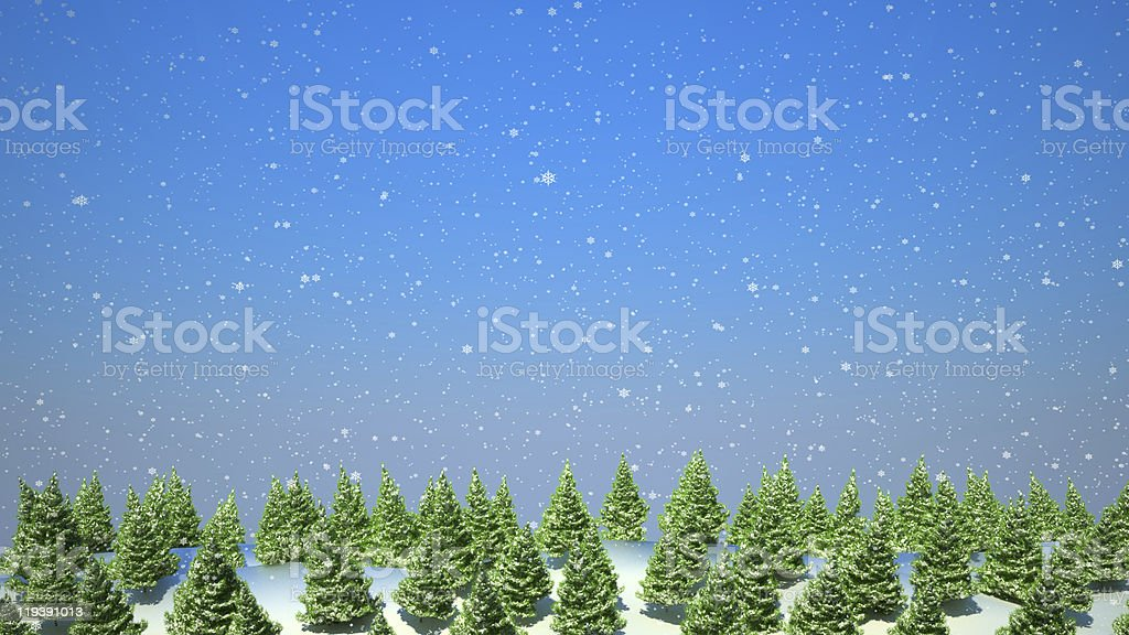 Firtree forest landscape during snowfall royalty-free stock photo