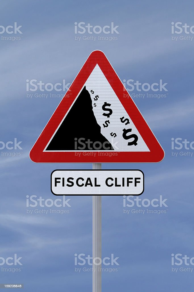 Fiscal Cliff Road Sign royalty-free stock photo