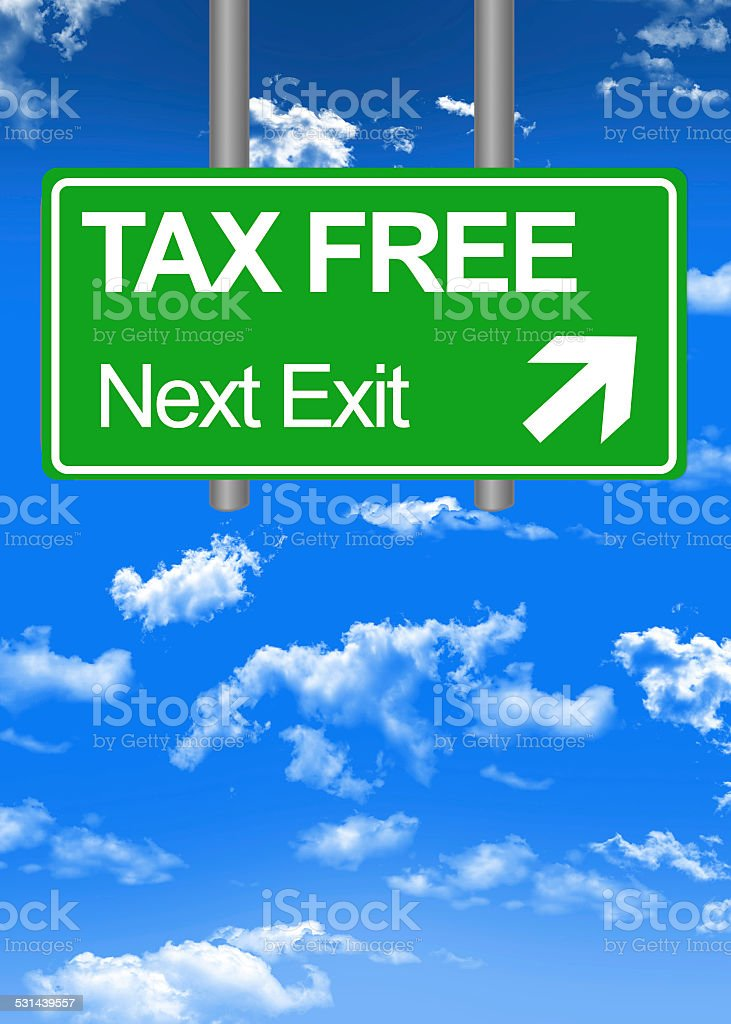 Fiscal paradise road sign or tax free concept stock photo