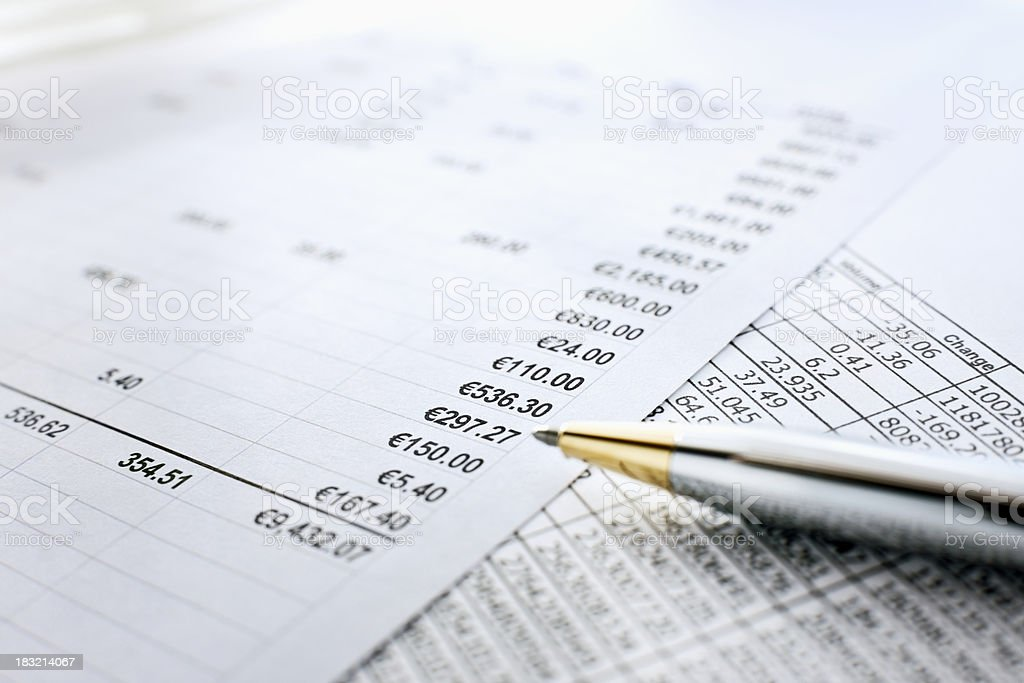 Fiscal Reports and Pen royalty-free stock photo