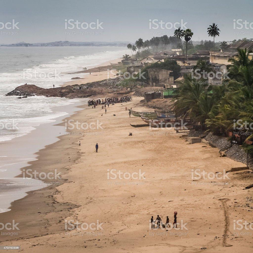 Fischer am Strand stock photo
