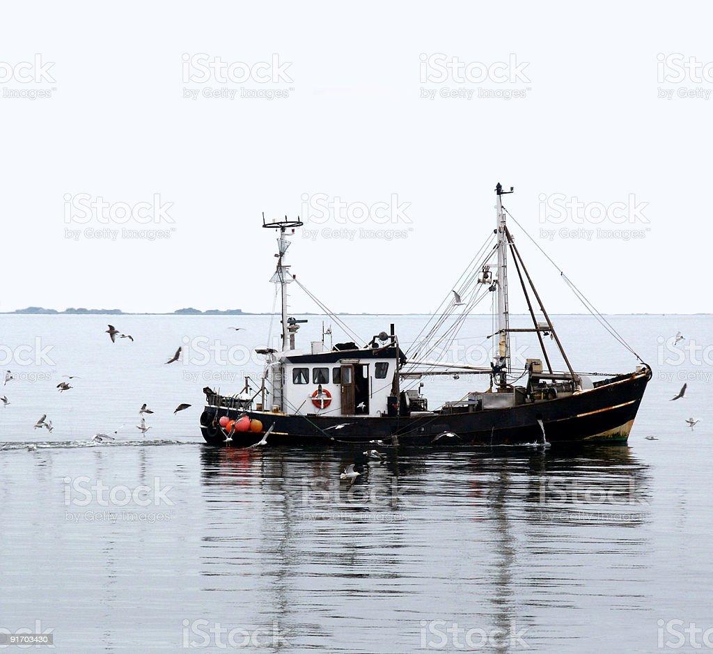 Fischkutter zwischen Sylt und Amrum vor Halligen stock photo