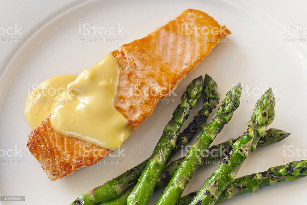 Fish and Asparagus Dinner royalty-free stock photo