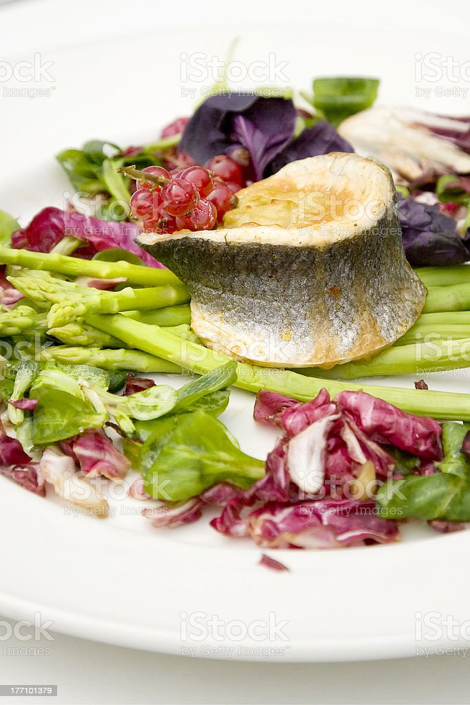 fish and asparagus royalty-free stock photo