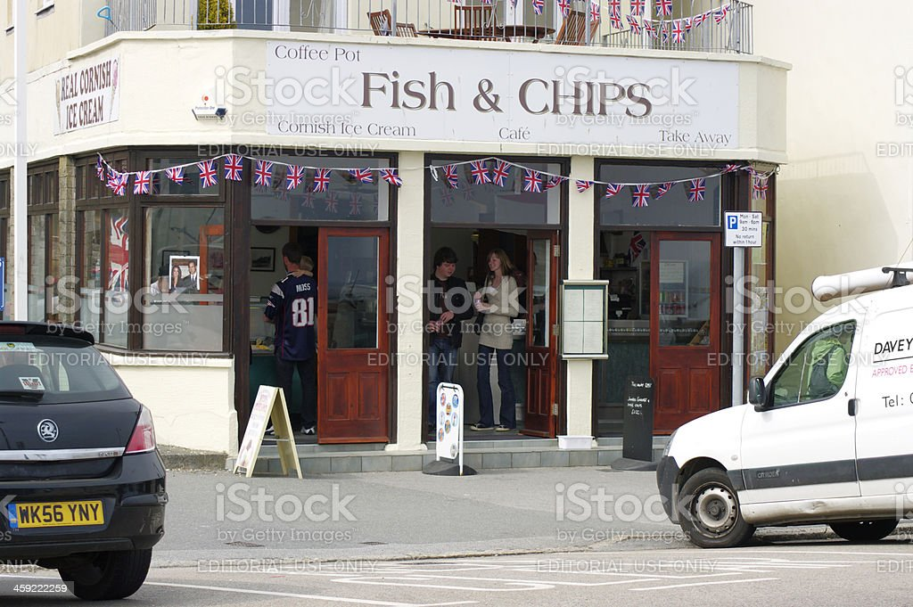 Fish And Chip Shop In Penzance Cornwall stock photo