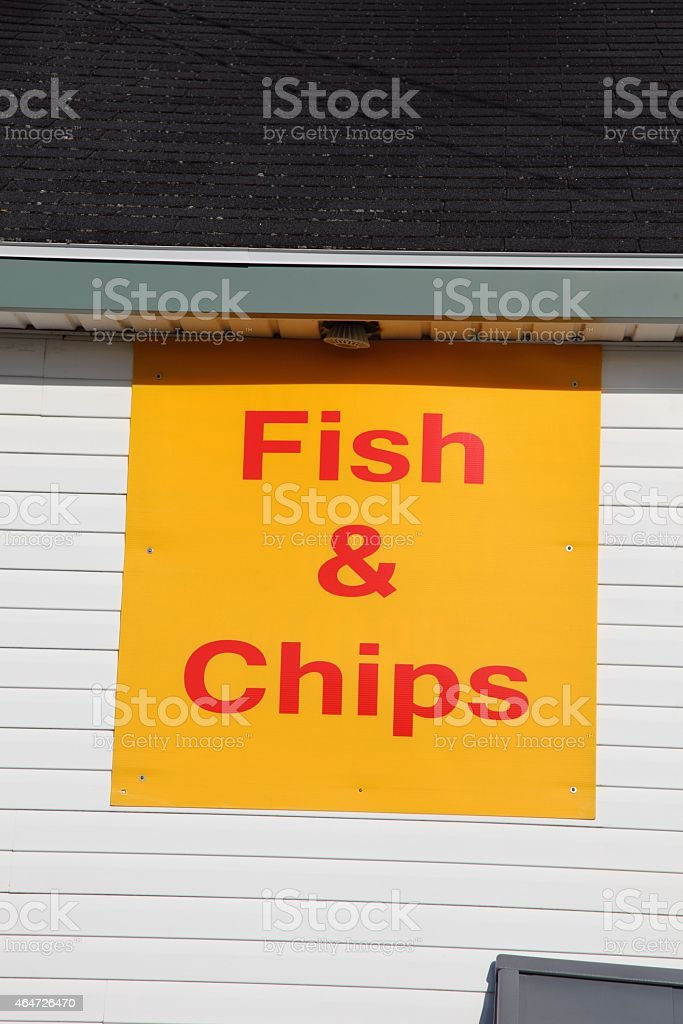 Fish and chip sign stock photo