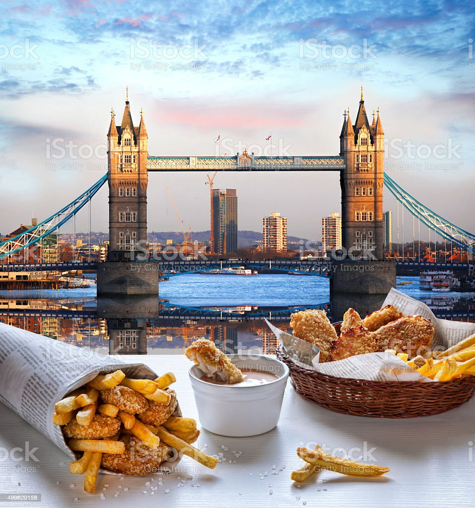 Fish and Chips against Tower Bridge in London, England stock photo