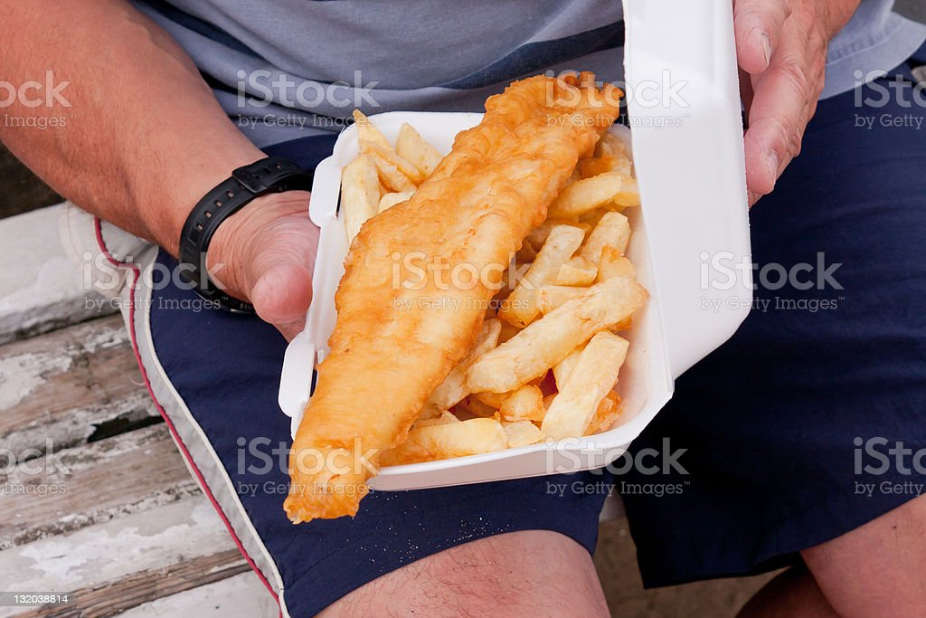 Fish and chips from the chippy. stock photo