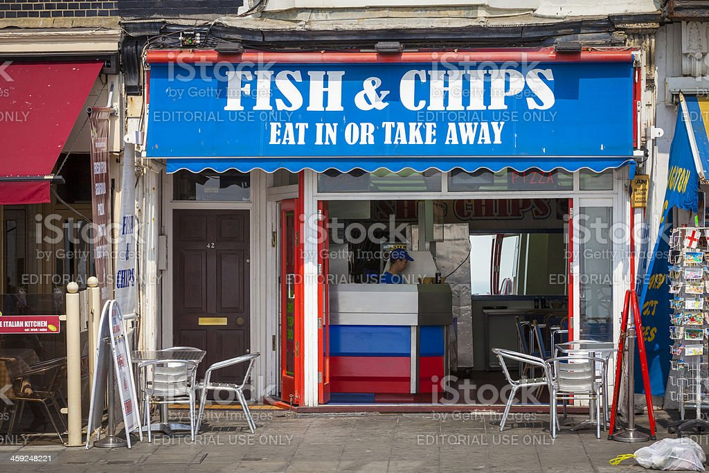 Fish and Chips Shop, Brighton, England stock photo