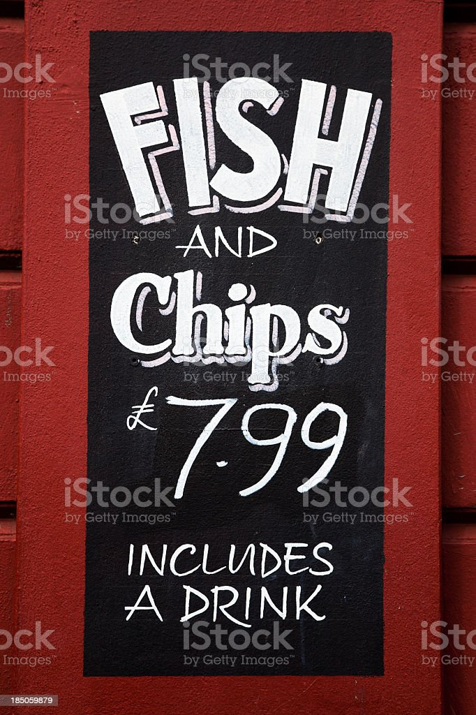 Fish and chips sign stock photo
