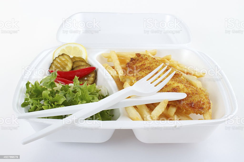 Fish and chips takeout food royalty-free stock photo