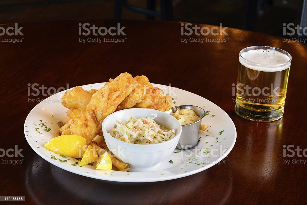 Fish and Chips with Beer at Pub royalty-free stock photo