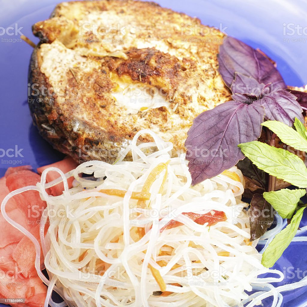 Fish and noodles royalty-free stock photo