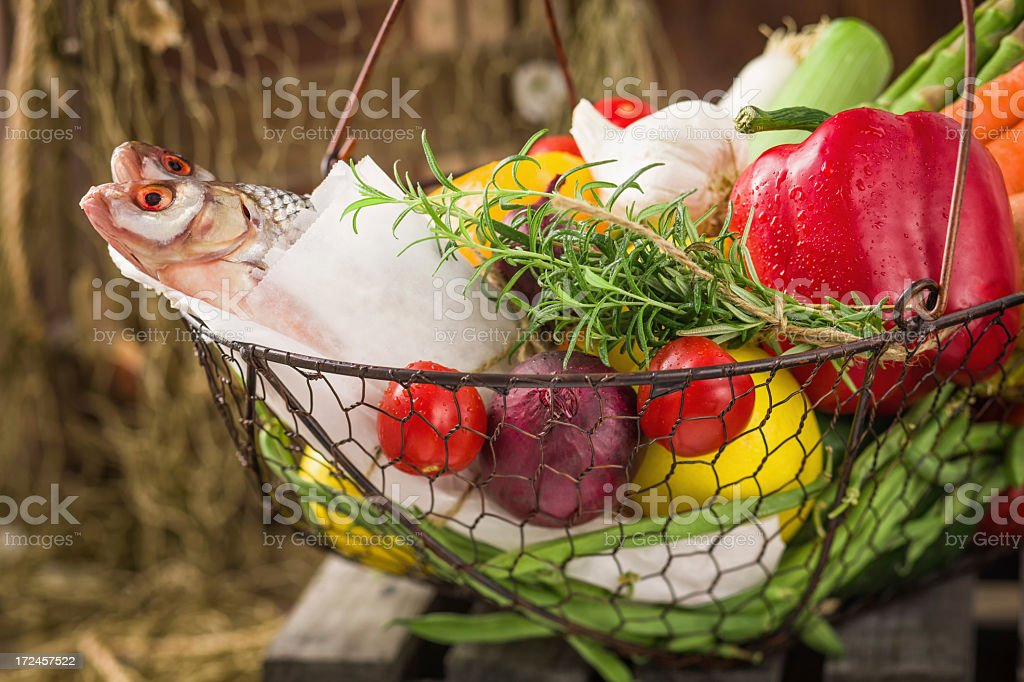 Fish and Organic Vegetables Fresh From Market royalty-free stock photo
