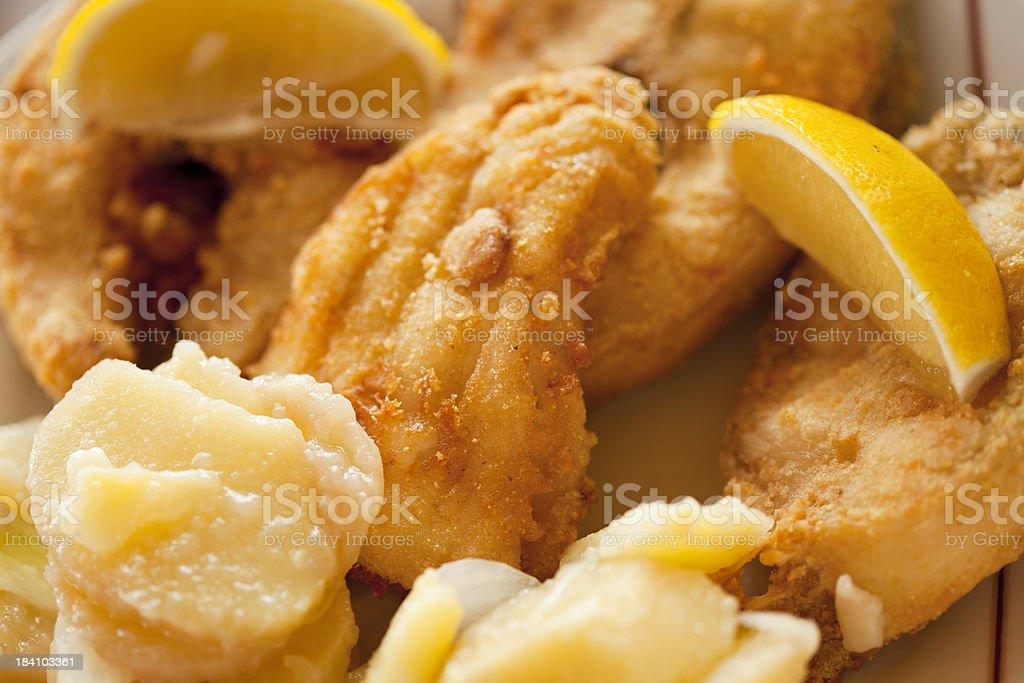 Fish and potato salad stock photo