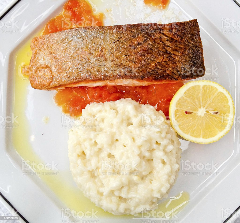 Fish and Rice on a plate royalty-free stock photo