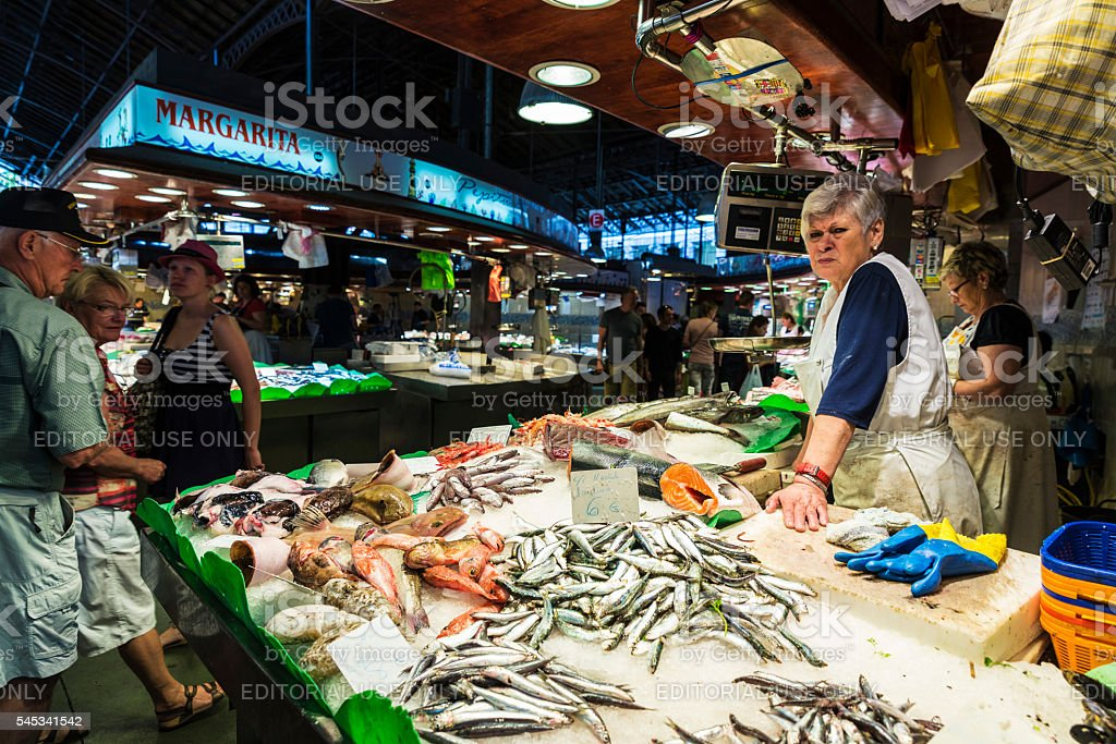 Fish and seafood shop in La Boqueria, Barcelona stock photo