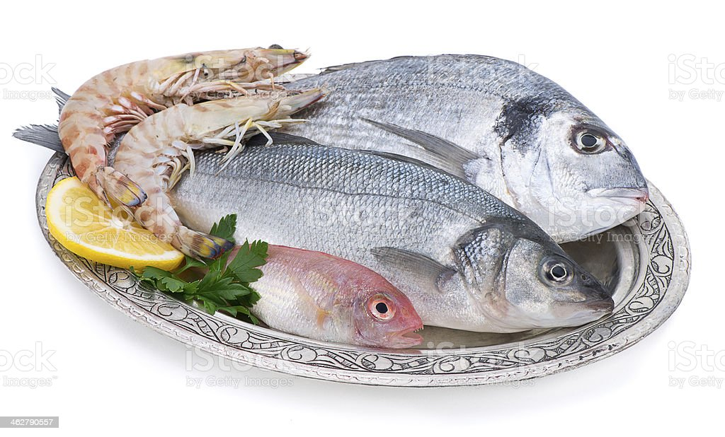 Fish and Shrimp in Authentic Plate royalty-free stock photo
