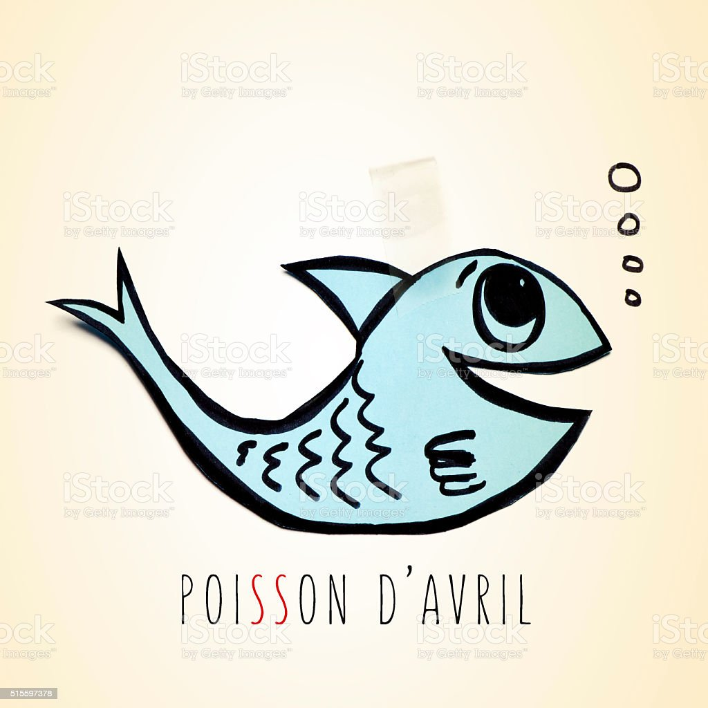 fish and text poisson davril, april fools day in french stock photo