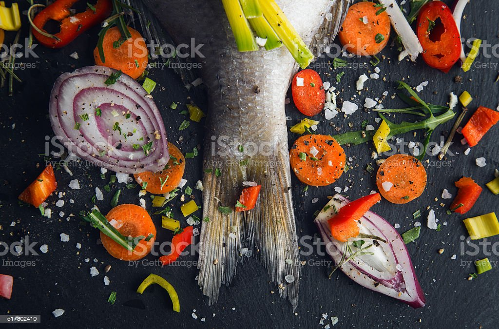 Fish and vegetables stock photo