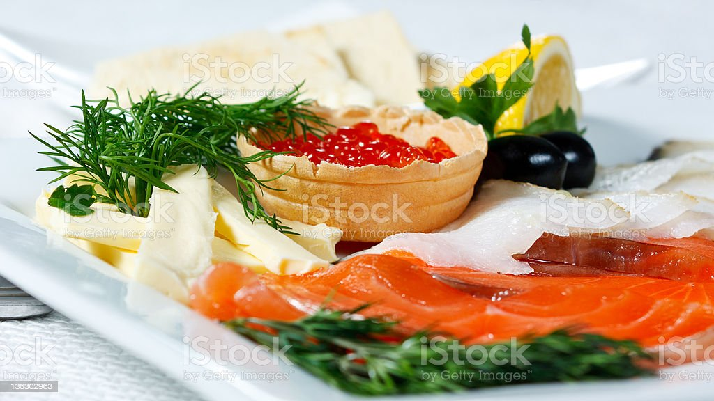 Fish assorted with salmon roe royalty-free stock photo