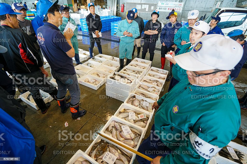 Fish auction on Hakodate Fish market, Japan stock photo