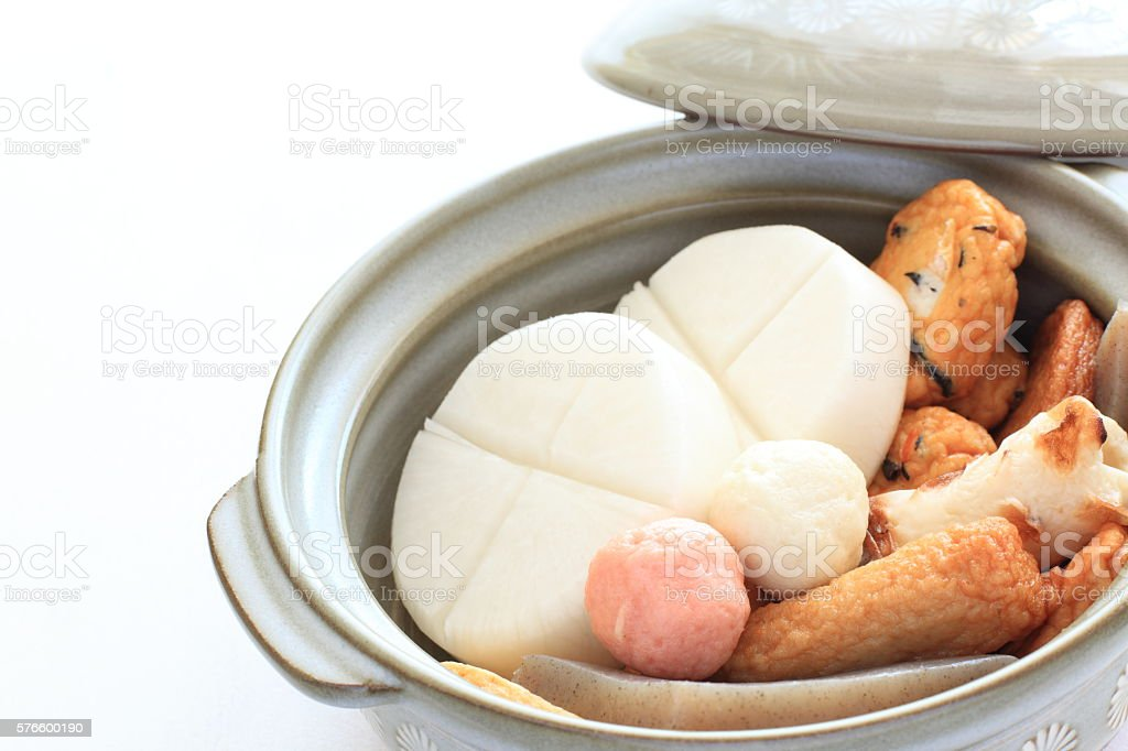 fish ball and radish for Japanese cooking stock photo
