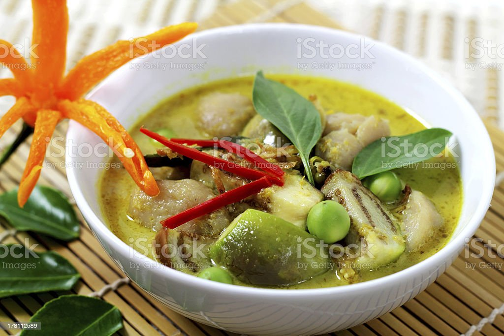 Fish ball green  curry. royalty-free stock photo