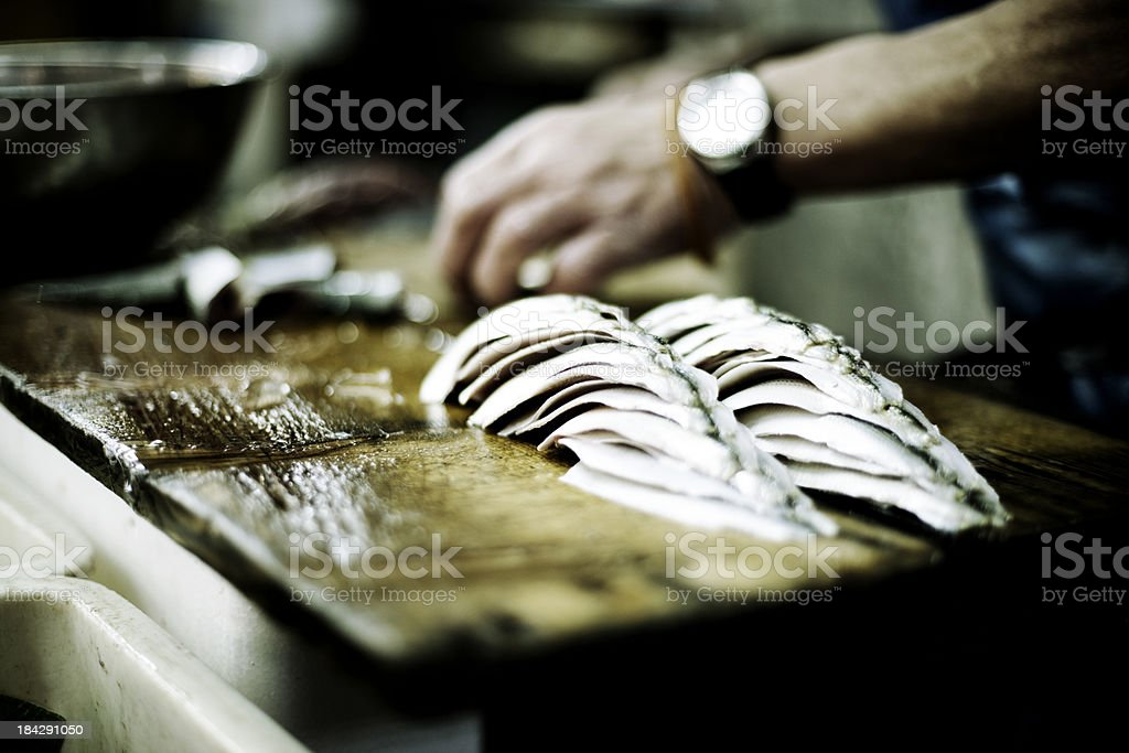 Fish being prepared stock photo