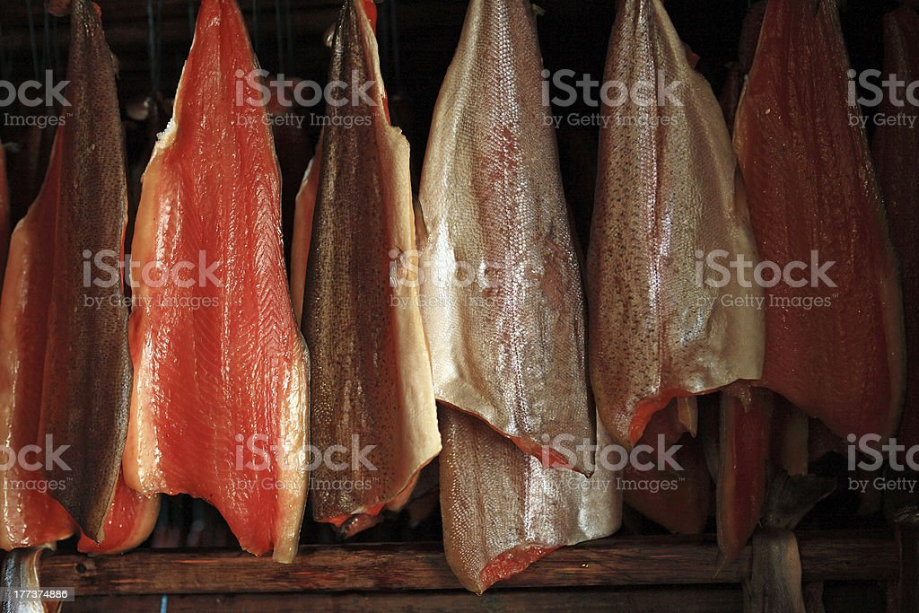 Fish being smoked in traditional manner at Myvatn, Iceland stock photo