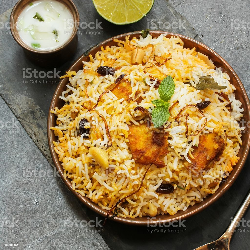 Fish Biryani with basmati rice Indian food stock photo