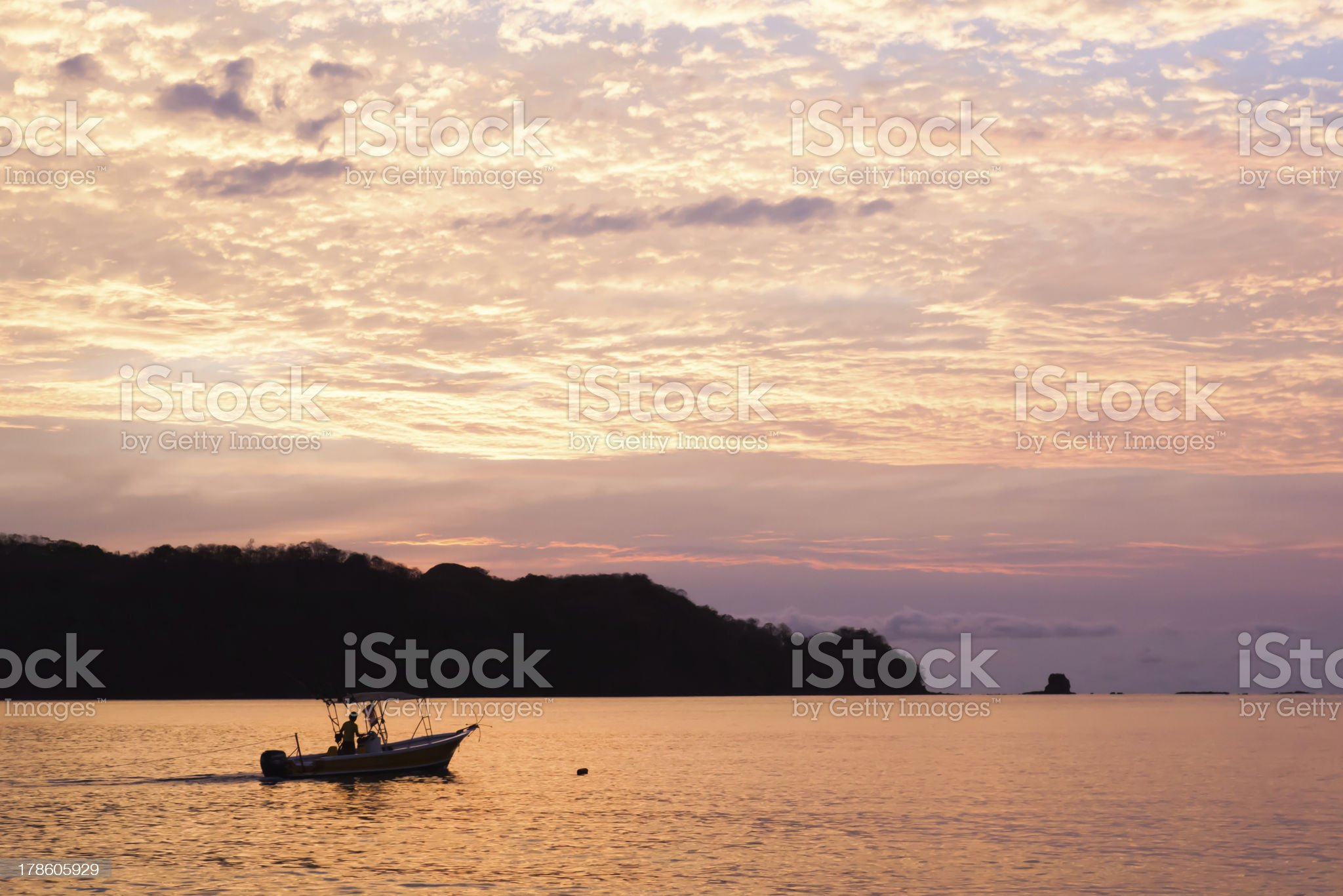 Fish boat by sunset royalty-free stock photo