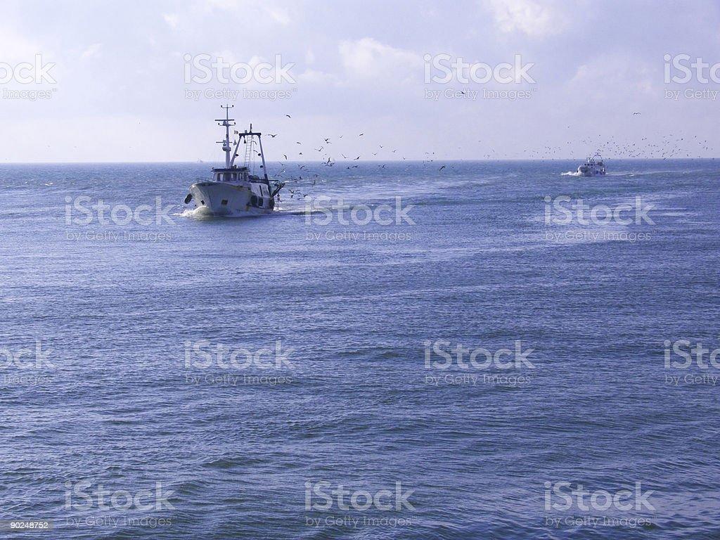 Fish boat on Tirrenian sea royalty-free stock photo