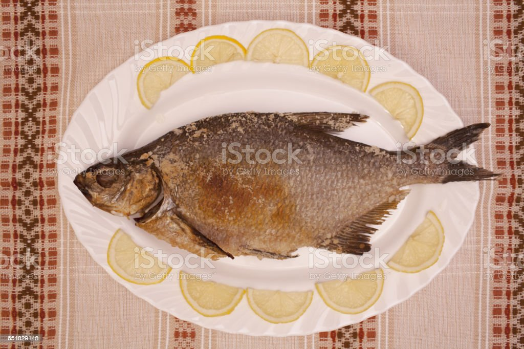 Fish bream baked in oven stock photo