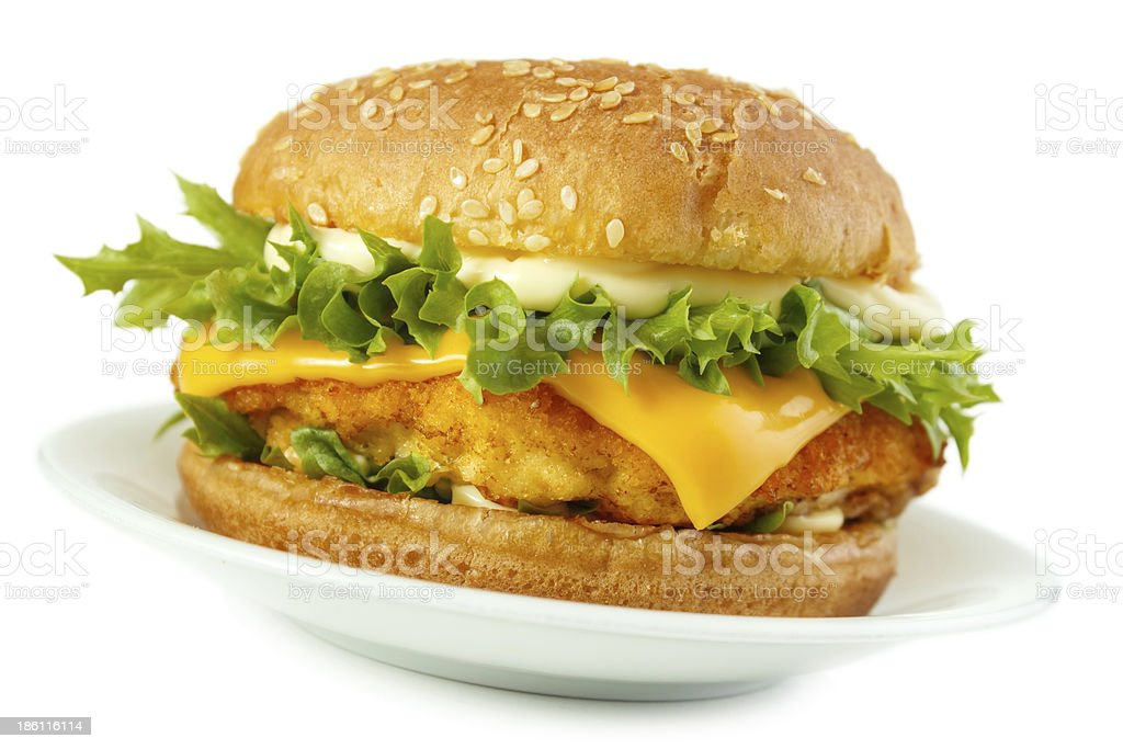 Fish burger on plate royalty-free stock photo