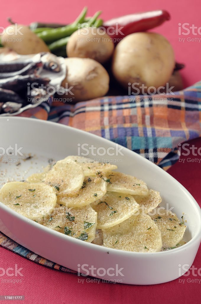 Fish cake anchovies and potatoes royalty-free stock photo