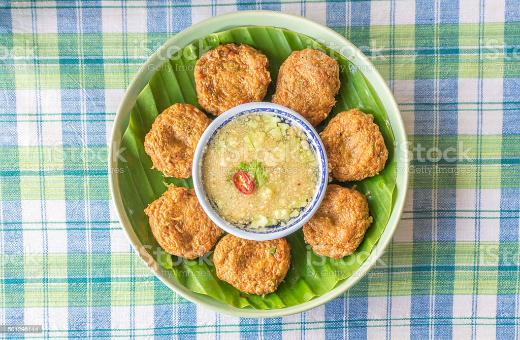 Fish Cake (Tod Mun), Thai food stock photo